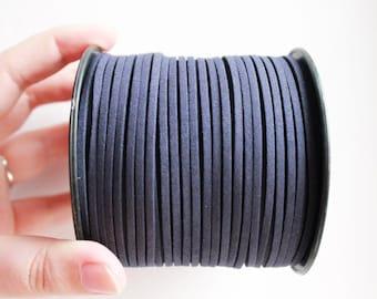 Dark blue Suede cord - high quality soft faux cord 2 m - 2,18  yards or 6,5 feet