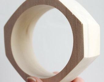30 mm Wooden bracelet unfinished rounded rectangular - natural eco friendly-RR30