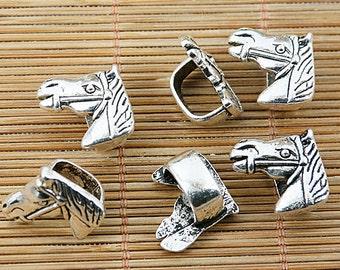 12pcs tibetan silver color horse charms EF1453
