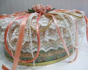 """Antique or Vintage Wedding Jewelry Box Wooden Trinket Wood Gift White Faux Pearl Green Floral 6""""x7"""""""