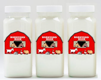 10 or More, Barnyard bash Milk Bottles, Plastic Milk Bottles, Barn Party Drink Bottles