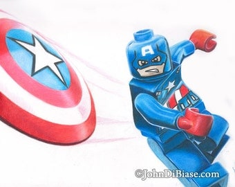 Full Color Drawing Print of LEGO Captain America