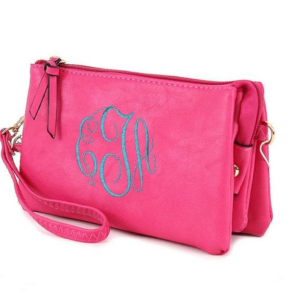 monogrammed crossbody purse hot pink monogrammed wristlet