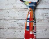 Boys Plaid Tie- Back to School Neck Tie- Adjustable Velcro Strap- Toddler Plaid Neck Tie- Birthday Tie- navy, red, pink, green, orange plaid