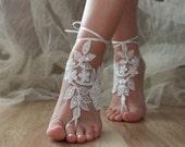 White Beach wedding barefoot sandals, White laca sandals, bridal barefoot sandals, White bridal beach shoes