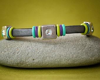 Gray Leather, Rhinestone Bracelet