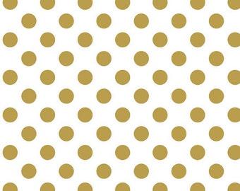 Sparkle Gold Dot - Riley Blake Fabric - Medium Polka Dot in Sparkle Metallic Gold