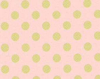 Quarter Dot Pearlized in Blush - Glitz collection by Michael Miller Fabrics - Modern metallic gold