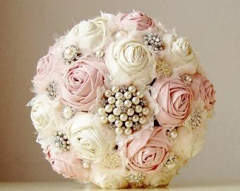 Brooch Wedding Bouquet, Vintage Bridal Bouquet, Fabric Flower Bouquet,  Wedding Bouquet,  Pink Flowers