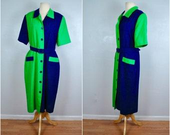Henry Lee Vintage Color Blue and Green Color Block Dress