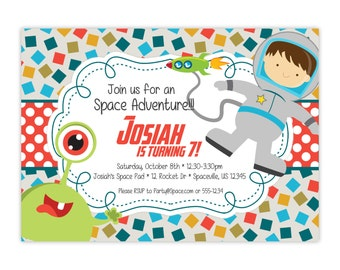 Retro Space Invitation - Tuquoise Red Green, Silly Alien, Boy Astronaut Space Personalized Birthday Party Invite - Digital Printable File