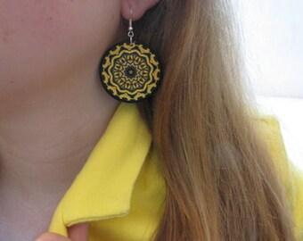 Large statement earrings, bohemian earrings, round dangle earrings, bright yellow earrings, decoupage earrings, mandala earrings boho hippie