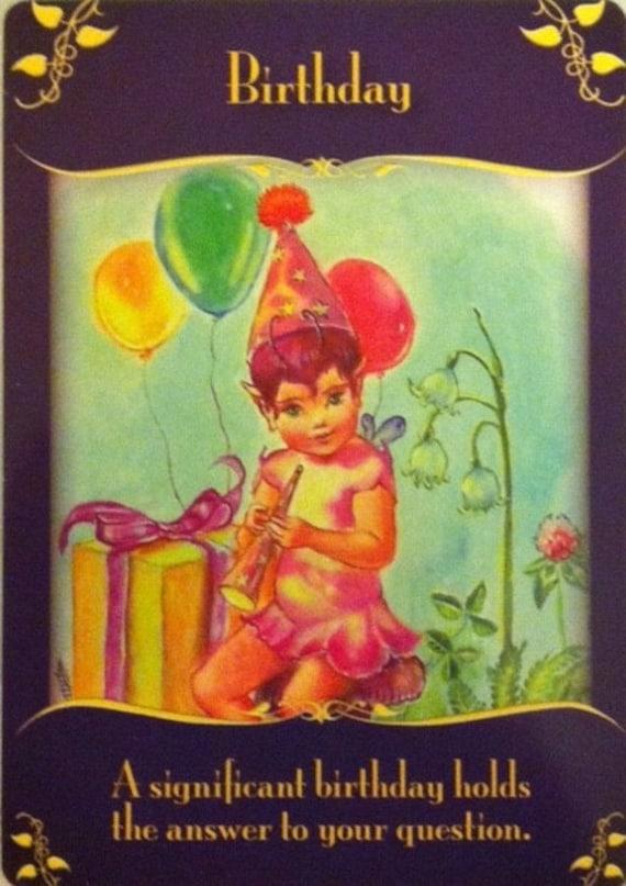 items similar to fairies birthday reading, happy birthday, tarot, Birthday card