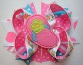 FLIP FLOP Girls Large Hair Bow, Flip Flop Baby Bow, Flip Flop Bow, Hot Pink Stripe, Polka Dot & Flip Flop Printed Ribbon w/Flip Flop Feltie