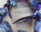 Purple Amethyst Necklace, Gemstone Necklace, Statement Beaded Necklace, Handmade Designer Jewellery, Gemstone to Glamour Jewellery, K Brown