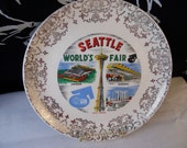 Seattle Worlds Fair  - Souvenir Plate -  Circa 1962 Ornate Gold Trim Historic Plate - Shabby Chic