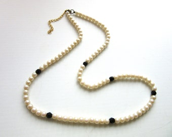 Long Faux Pearl Necklace & Faceted Black Beads 24 - 27 Inches
