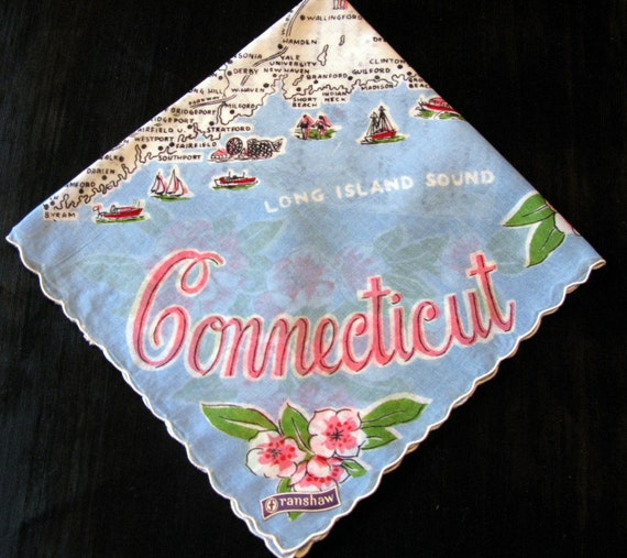 Connecticut State Handkerchief Franshaw Hankerchief Souvenir Hankies Tag on Rare