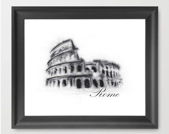Colosseum, Rome INSTANT DOWNLOAD, travel themed wall decor, Europe, modern art, Rome wall art - Downloadable Art