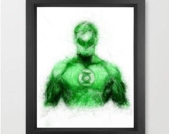 Green Lantern INSTANT DOWNLOAD, DC comics, lantern corp, superhero room ideas, birthday gift, Christmas present - Digital Art