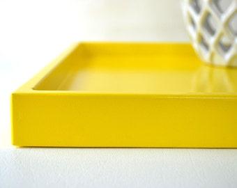 Decorative Tray for Ottoman, Shallow Serving Tray, Coffee Table Tray, Bar Tray, Yellow Tray