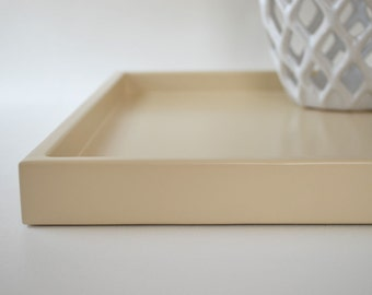 Shallow Decorative Tray for Coffee Table, Ottoman Tray, Desk Tray, Shallow Serving Tray, Beige Tray