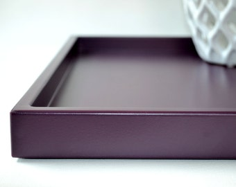 Ready to ship white lacquer serving tray 16 x 16 satin for Shallow coffee table