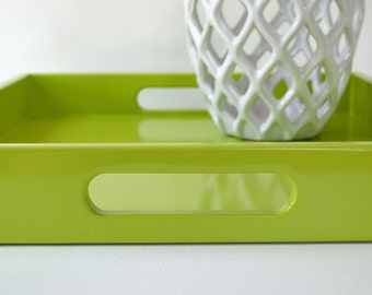 Serving Tray with Handles, Coffee Table Decor, Tray for Ottoman, Modern Ottoman Tray, Entryway Organizer, Green Tray