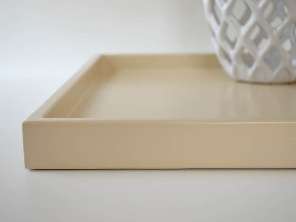 Beige shallow decorative tray lacquer wood serving tray for Shallow coffee table