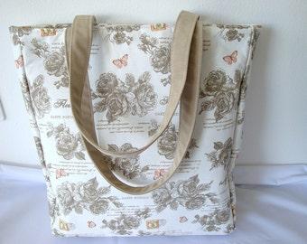 Handbag, Tote bag, Shoulderbag, beige, ivory,  Roses