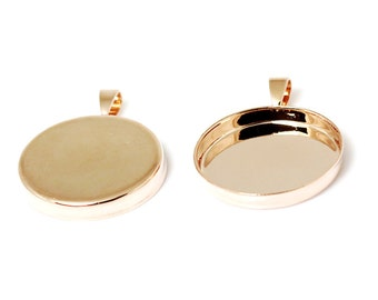 Pendant Trays Round Bezel Cabochon Mountings 20mm-25mm Pendant Setting Rose Gold Plated Jewelry Supply Wholesale ID 2365 /10380