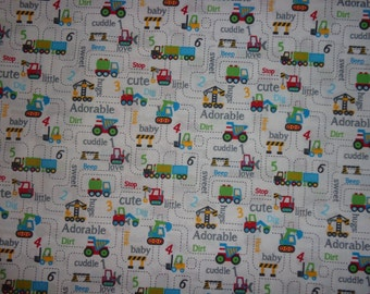 White with Semi Trucks/Dozers/Construction Fabric by the Yard