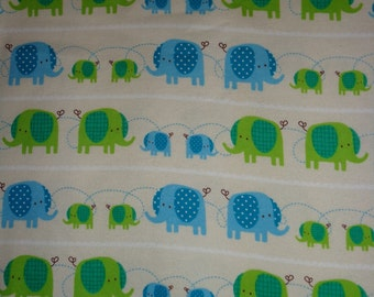 White with Blue/Green Elephants Flannel Fabric by the Yard