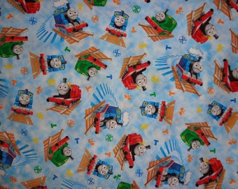 Thomas Train Blue with Multicolor Trains Cotton Fabric by the Yard