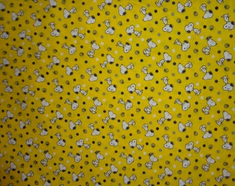 Yellow Snoopy/Woodstock Cotton Fabric by the Half Yard