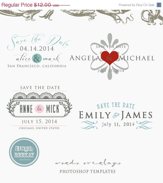 On sale now digital save the date template by studiobeekay for Electronic save the date templates