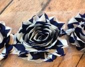 Navy Chevron ** Printed Shabby Flowers Chiffon Rosettes Shabby Flower trim- *Your choice of 1/2 yard or 1 Yard