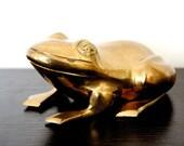 Vintage Brass Frog Figure