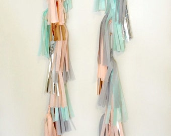 PASTEL PAIR - Two, 5 FT. Tissue Paper Tassel Towers - Balloon Tassels - Party - Wedding