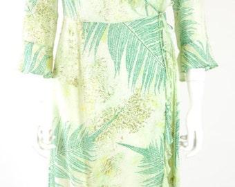 ON SALE CATHERINE Malandrino: Designer Silk Dress // Vintage Wrap Dress // Tropical Silk Dress // Tropical Print Dress // Sheer Dress // Ruf