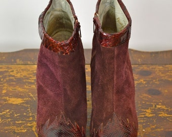 ON SALE ANKLE Booties: Burgundy Booties // Suede Ankle Boots // Oxblood Booties // High Heel Booties //  80s Ankle Boots