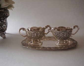 Vintage Ornate Silver Plated Sugar and Creamer Set