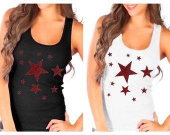 Fashion Vixen Patriotic Red Glitter Multiple Stars Tank Top S M L XL Plus Size 1x 2x 3x 4x 5x