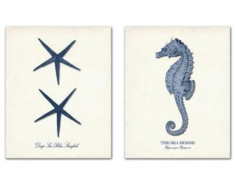 Navy Blue Nautical Art Print Set of Two, Posters, Sea Life Art,  Beach Art Home Decor, Marine Art, Wall Art, Starfish Print, Seahorse Print