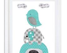 Teal Nursery decor, Elephant print, Kids room wall art, Elephant nursery art - Teal and Grey Elephant and bird