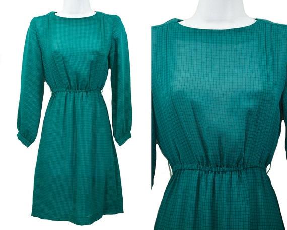Vintage 80's Green & Black Checker Pattern Polyester Dress XS