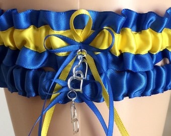 Royal Blue and Yellow Wedding Garter, Bridal Gifts, Prom Garter, Bridal Garter Set