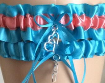 Turquoise and Coral Wedding Garter Set, Bridal Garter Set, Prom Garter, Keepsake Garter, Weddings