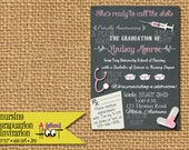 Medical or Nursing School Graduation Party Invitation (Personalized, DIY, 5X7 Printable) Colors can be changed!