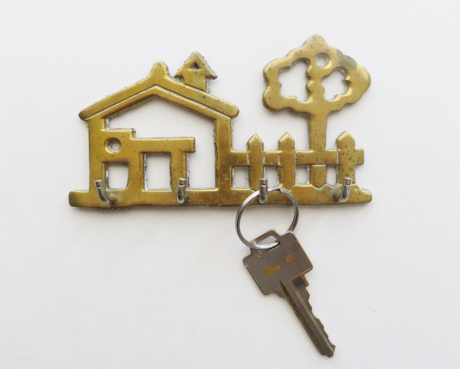 70 39 S Wall Mounted Key Holder Brass House And Tree